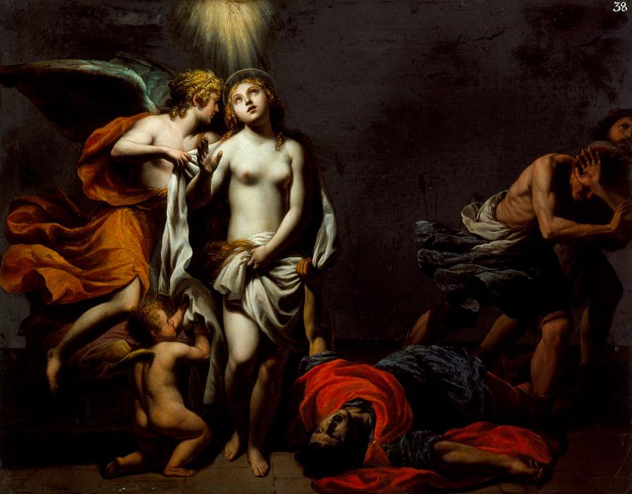 フリー絵画 アレッサンドロ・トゥルキ作「天使に守られた聖アグネス」
