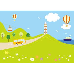 フリーイラスト, ベクター画像, AI, 風景, 灯台(ライトハウス), 乗り物, 熱気球, バス, 船, ロープウェイ, 青空, 花畑