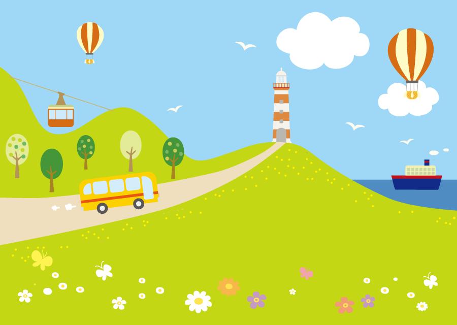 フリーイラスト 灯台の建つ海沿いの風景と様々な乗り物