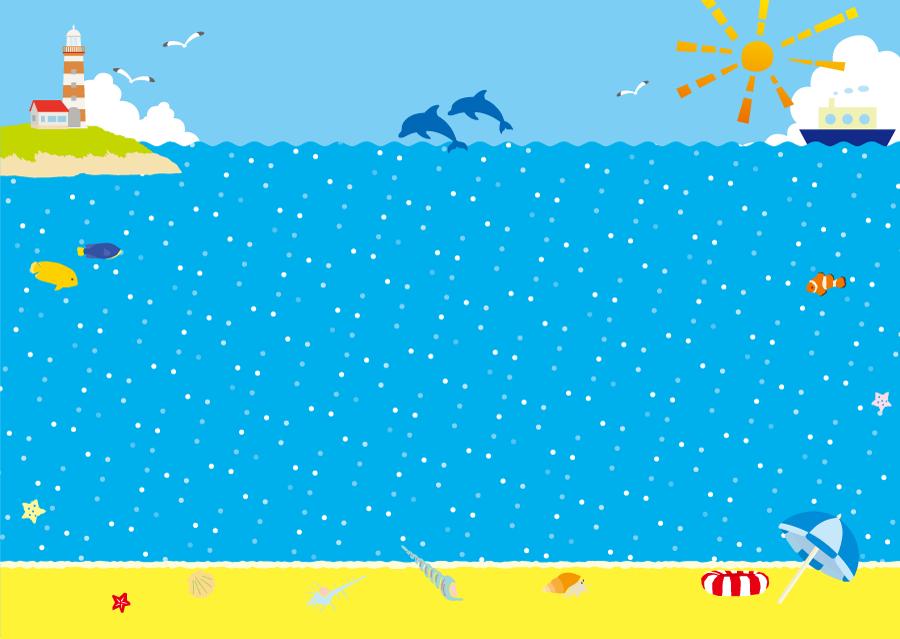フリーイラスト 生き物たちと海の風景