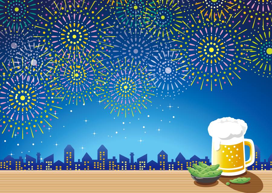 フリーイラスト 打ち上げ花火とビールと枝豆