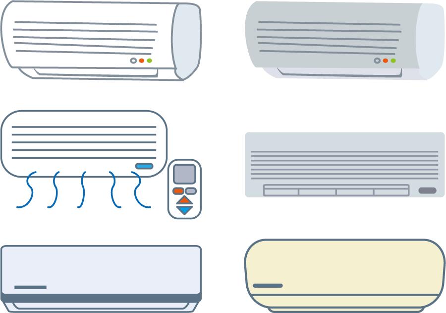 フリーイラスト 6種類のエアコンのセット