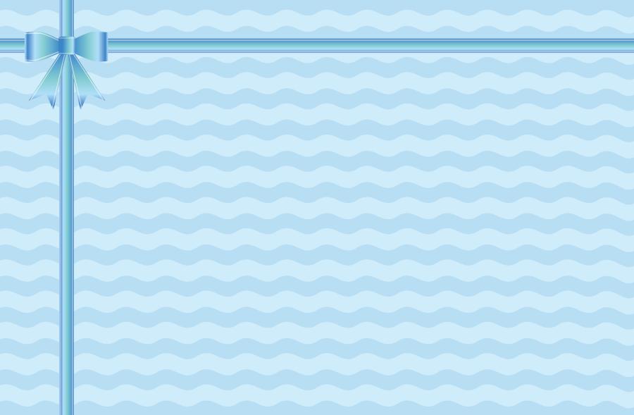 フリーイラスト 水色のリボンと波線の背景