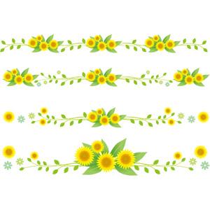 フリーイラスト, ベクター画像, AI, 飾り罫線(ライン), 植物, 花, 向日葵(ヒマワリ), 黄色の花, 夏