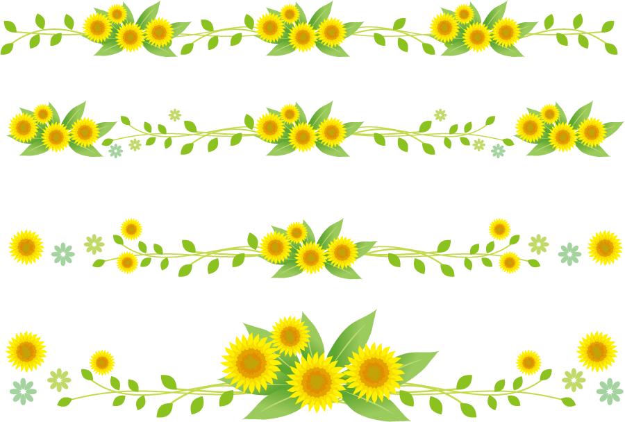 フリーイラスト 4種類のヒマワリの花のラインのセット
