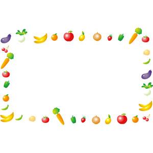 フリーイラスト, ベクター画像, EPS, 背景, フレーム, 囲みフレーム, 食べ物(食料), 野菜, 果物(フルーツ), 茄子(なすび), 蕪(カブ), バナナ, オレンジ, リンゴ, レモン, 玉ねぎ(タマネギ), じゃがいも(ジャガイモ), 人参(ニンジン), ピーマン, トマト