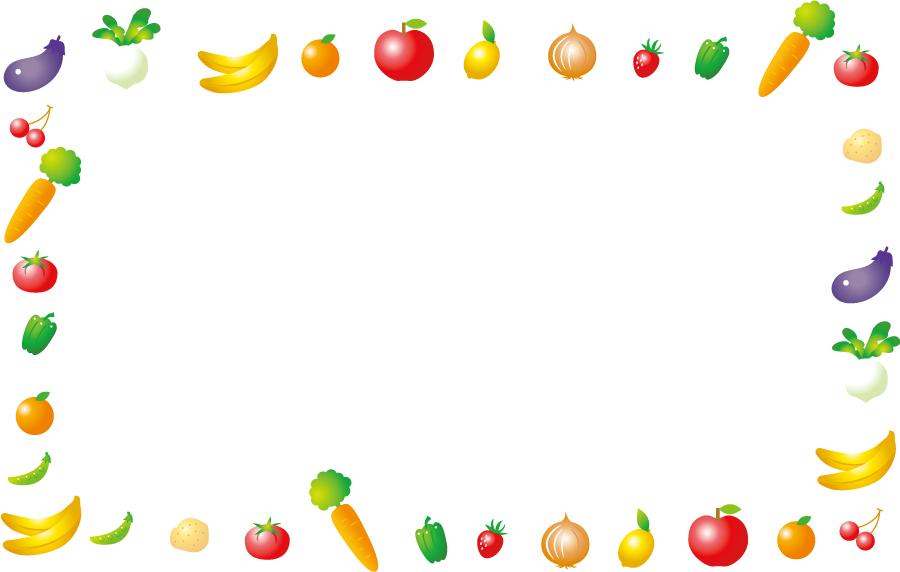 フリーイラスト 野菜と果物の囲みフレーム
