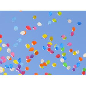 フリー写真, 背景, 青空, 風船, カラフル