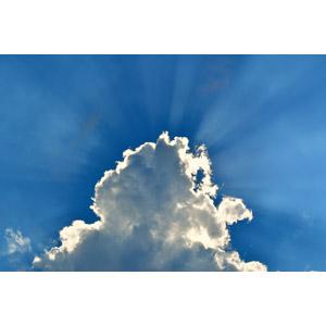 フリー写真, 風景, 自然, 空, 雲, 青空, 太陽光(日光), 薄明光線