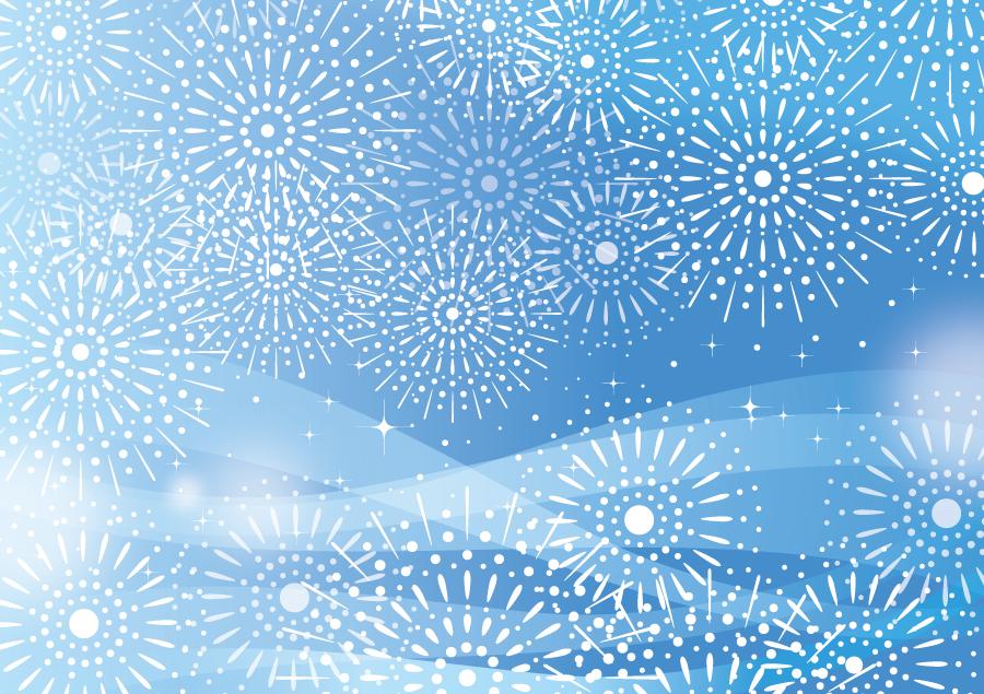 フリーイラスト 打ち上げ花火と青色の背景