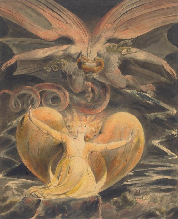 フリー絵画 ウィリアム・ブレイク作「大いなる赤き竜と日をまとう女」