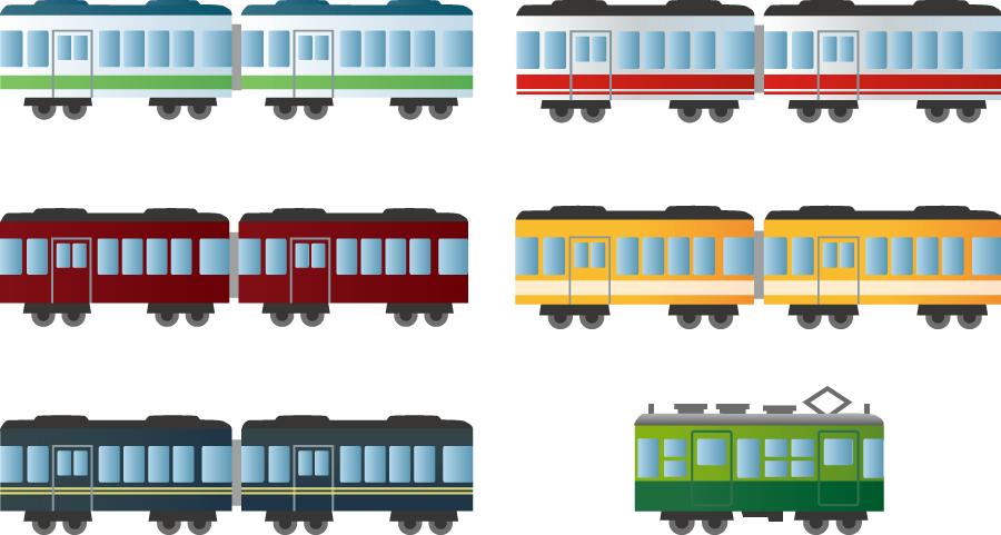 フリーイラスト 6種類の鉄道車両のセット