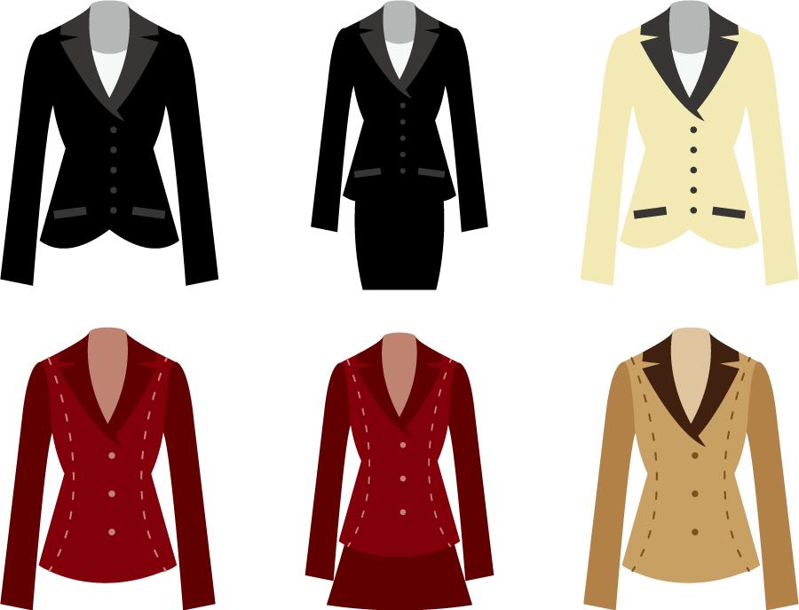 フリーイラスト 6種類のレディーススーツのセット