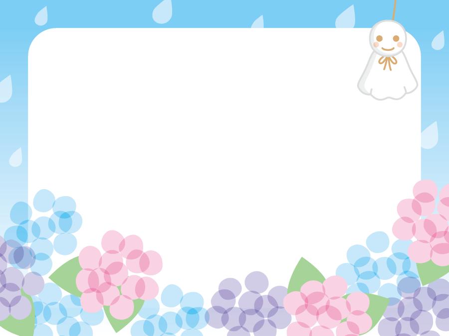 フリーイラスト あじさいの花とてるてる坊主の梅雨のフレーム