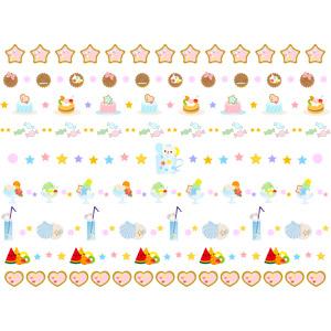 フリーイラスト, ベクター画像, AI, 飾り罫線(ライン), 食べ物(食料), 菓子, クッキー(ビスケット), 飴(キャンディ), アイスクリーム, かき氷, 貝殻, 西瓜(スイカ), 星(スター), ハート, ゼリー, マカロン, ホッキョクグマ(シロクマ)