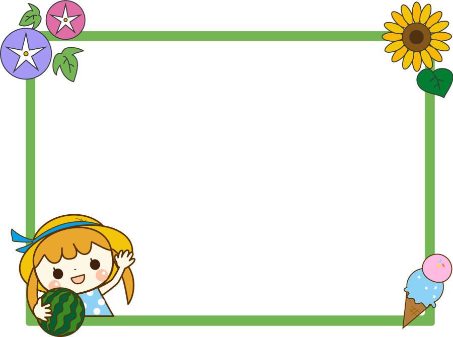 フリーイラスト 女の子と夏の飾り枠