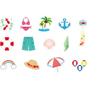 フリーイラスト, ベクター画像, AI, 夏, 金魚(キンギョ), 水着, ビキニ, 椰子(ヤシ), 碇, 風鈴, 浮き輪, 海水パンツ, 貝殻, 虹, 麦わら帽子, ビーチパラソル, 提灯