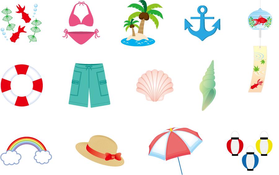 フリーイラスト 風鈴などの13種類の夏のセット