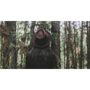 フリー写真, 人物, 女性, 後ろ姿, 人と風景, 帽子, 森林, 熱帯雨林(ジャングル)