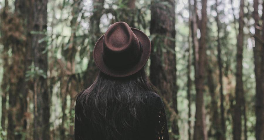 フリー写真 ジャングルの木々と帽子を被った女性の後ろ姿