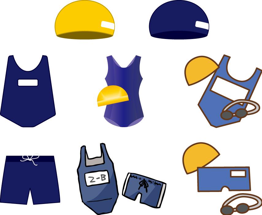 フリーイラスト 8種類のスクール水着と水泳帽のセット