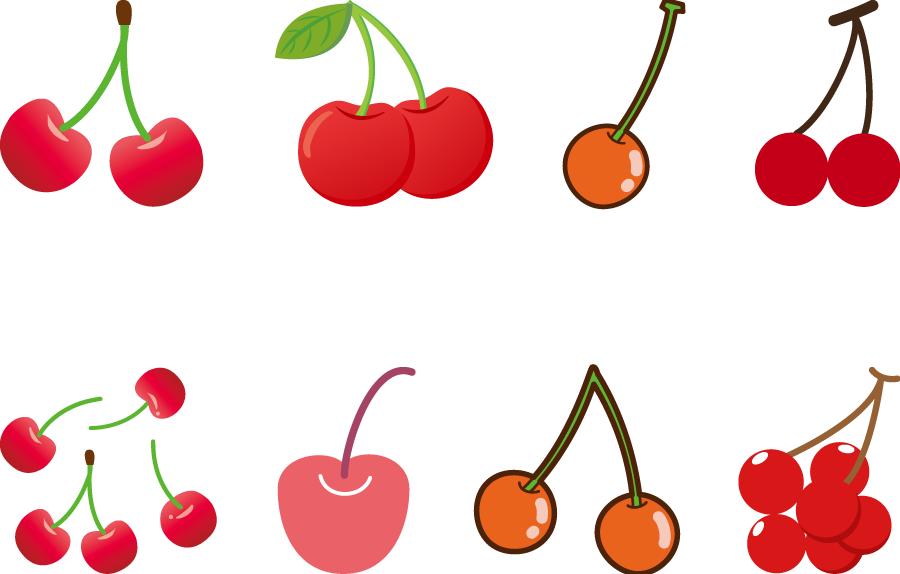 フリーイラスト 8種類のさくらんぼのセット