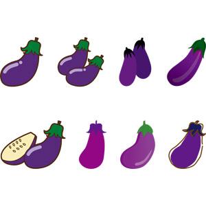 フリーイラスト, ベクター画像, AI, 食べ物(食料), 野菜, 茄子(なすび), 紫色(パープル)