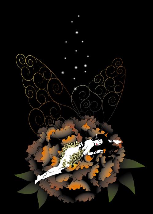 フリーイラスト 牡丹の花に眠っている妖精