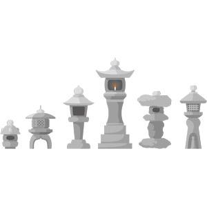 フリーイラスト, ベクター画像, EPS, 照明器具, 灯籠(灯篭), 日本庭園