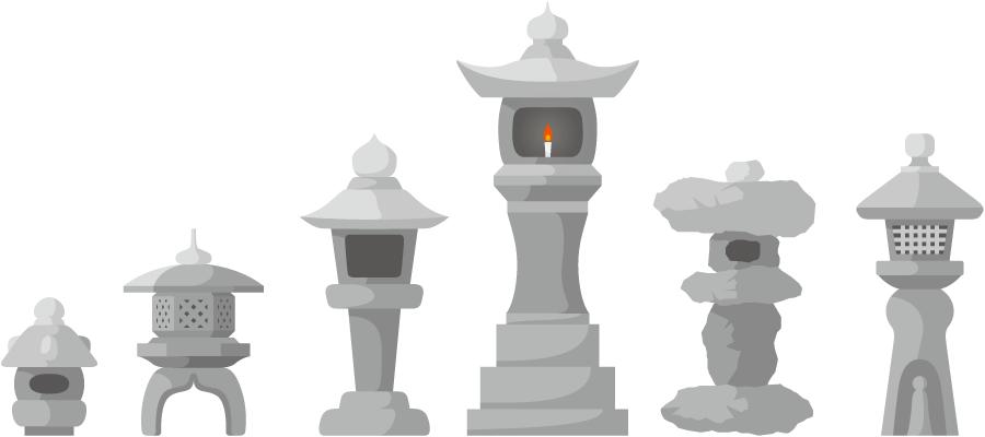 フリーイラスト 6種類の石灯籠のセット