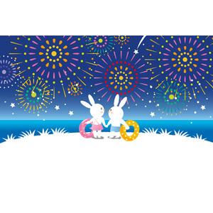 フリーイラスト, ベクター画像, EPS, 背景, 花火, 打ち上げ花火, 海, 浮き輪, 動物, 兎(ウサギ), カップル(動物), 夜