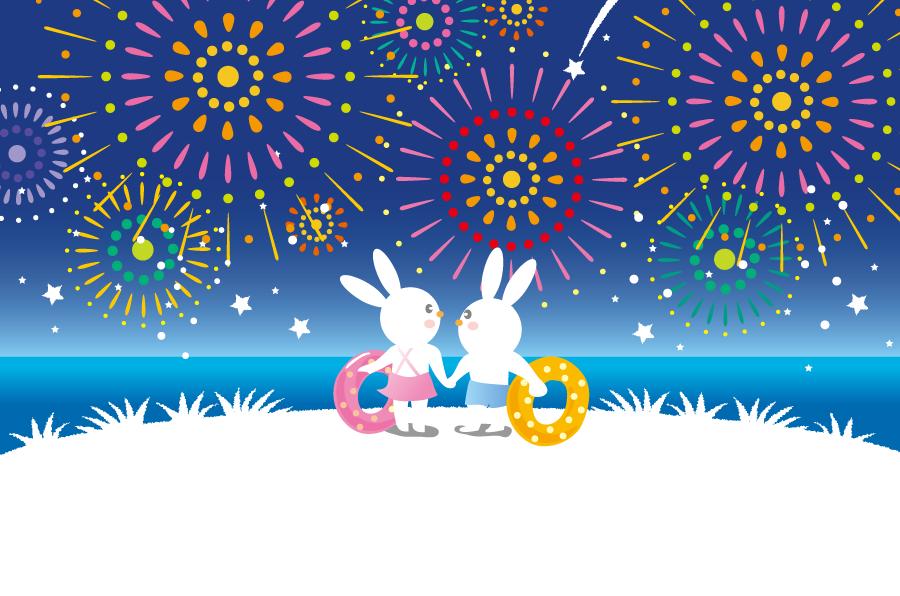 フリーイラスト 打ち上げ花火とウサギのカップル