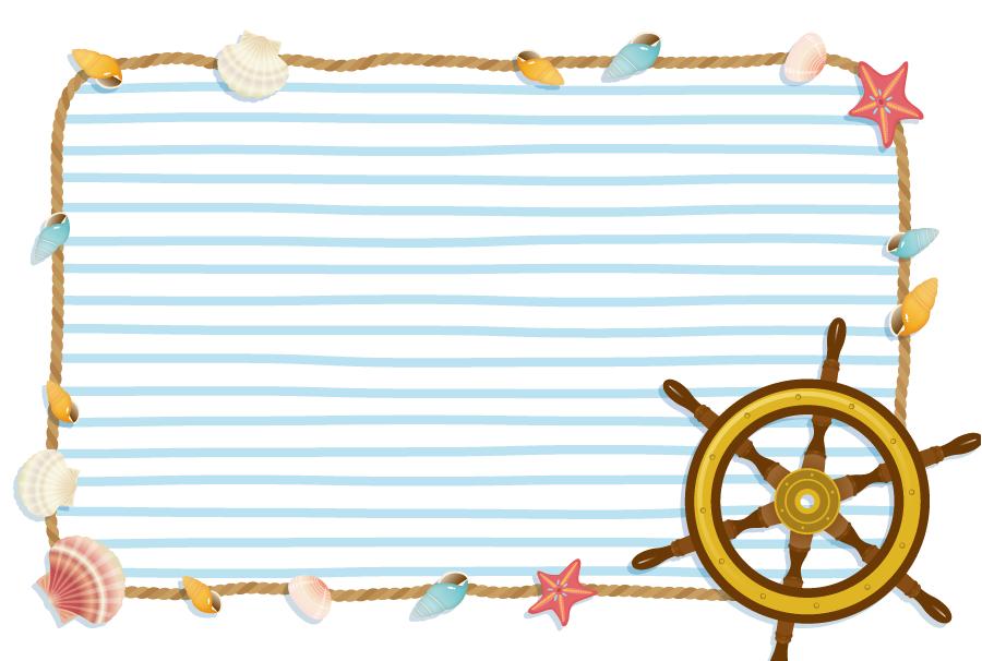 フリーイラスト 舵と貝殻のマリンフレーム