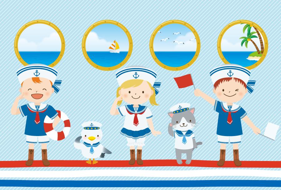フリーイラスト 敬礼する子供と動物の水兵