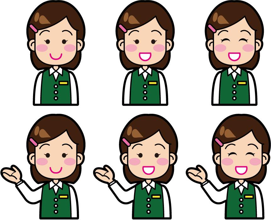 フリーイラスト 6種類の受付嬢のセット