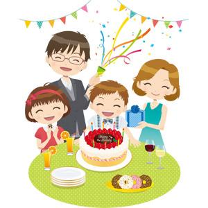 フリーイラスト, ベクター画像, EPS, 人物, 家族, 親子, 父親(お父さん), 母親(お母さん), 子供, 兄妹(姉弟), 息子, 誕生日(バースデー), バースデーケーキ, プレゼント, パーティークラッカー, ドーナツ, フラッグガーランド, 拍手, パーティー