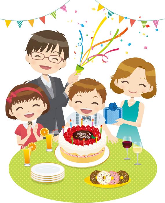 フリーイラスト 息子の誕生日を祝う家族