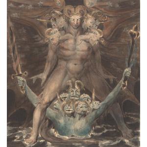 フリー絵画, ウィリアム・ブレイク, 宗教画, キリスト教, 新約聖書, ヨハネの黙示録, 龍(竜), 神話・伝説の生物, 怪獣
