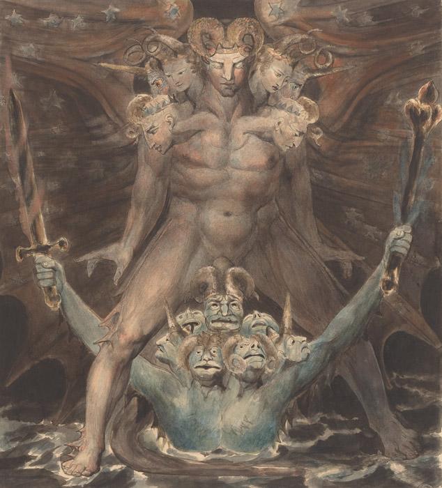 フリー絵画 ウィリアム・ブレイク作「巨大な赤い龍と海から上がってきた獣」