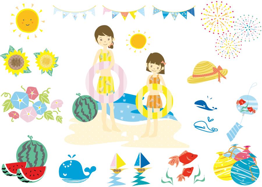 フリーイラスト 海水浴やスイカなどの夏関連のセット
