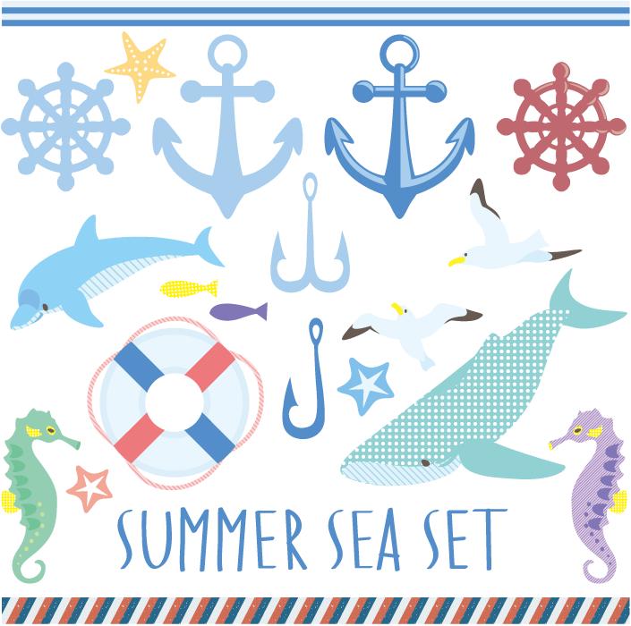 フリーイラスト 海の生物とマリン用品のセット