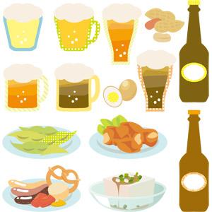 フリーイラスト, ベクター画像, EPS, 夏, 飲み物(飲料), お酒, ビール, ビールジョッキ, ビールグラス, 食べ物(食料), 枝豆(えだまめ), 揚げ物, から揚げ(唐揚げ), ソーセージ(ウィンナー), 料理, 冷奴(冷や奴), 豆腐, ピーナッツ(落花生), 燻製卵