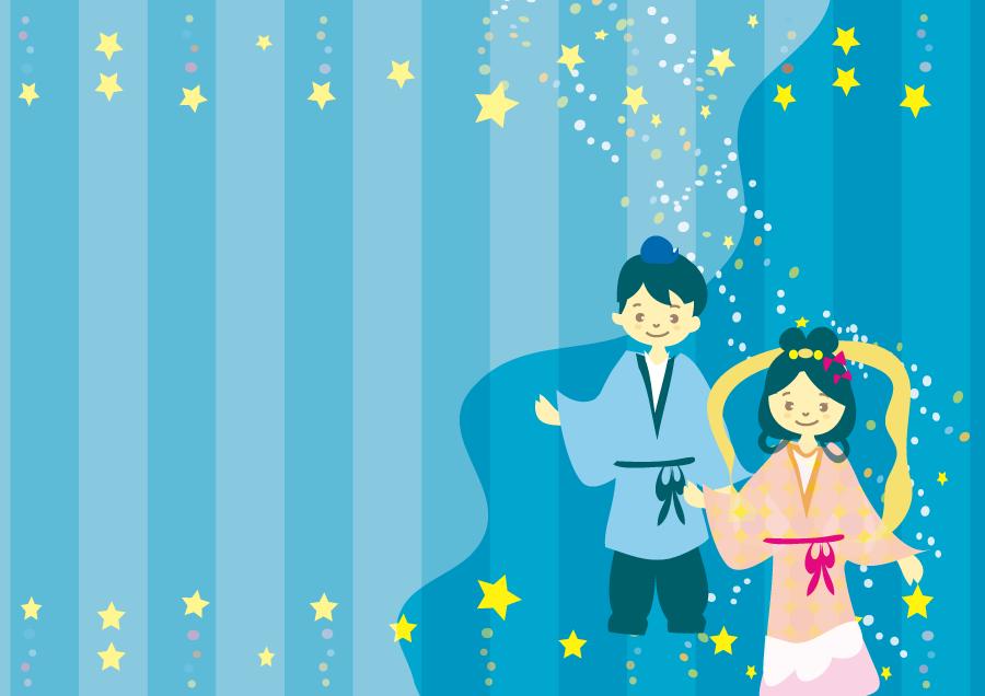 フリーイラスト 織姫と彦星の七夕の飾り枠