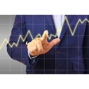 フリー写真, 人体, 手, ビジネス, ビジネスマン, サラリーマン, 仕事, 職業, 指差す, グラフ, 折れ線グラフ, データ, 売り上げ(売上), 右肩上がり