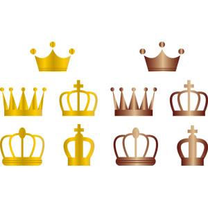 フリーイラスト, ベクター画像, AI, 装飾品(アクセサリー), 冠, 王冠(クラウン), 金色(ゴールド), ブロンズ