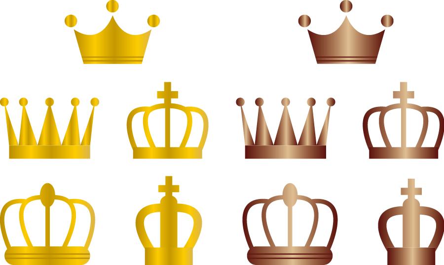 フリーイラスト 10種類のゴールドとブロンズの王冠のセット