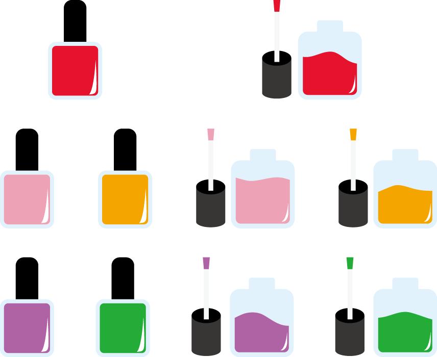フリーイラスト 10種類のマニキュアのセット