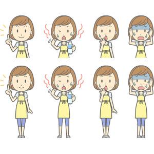 フリーイラスト, ベクター画像, AI, 人物, 女性, 女性(00193), 主婦, 母親(お母さん), エプロン, アドバイス, 上を指す, 説明する, 暑い, 失敗, 驚く, 頭を抱える, 青ざめる, 冷や汗をかく