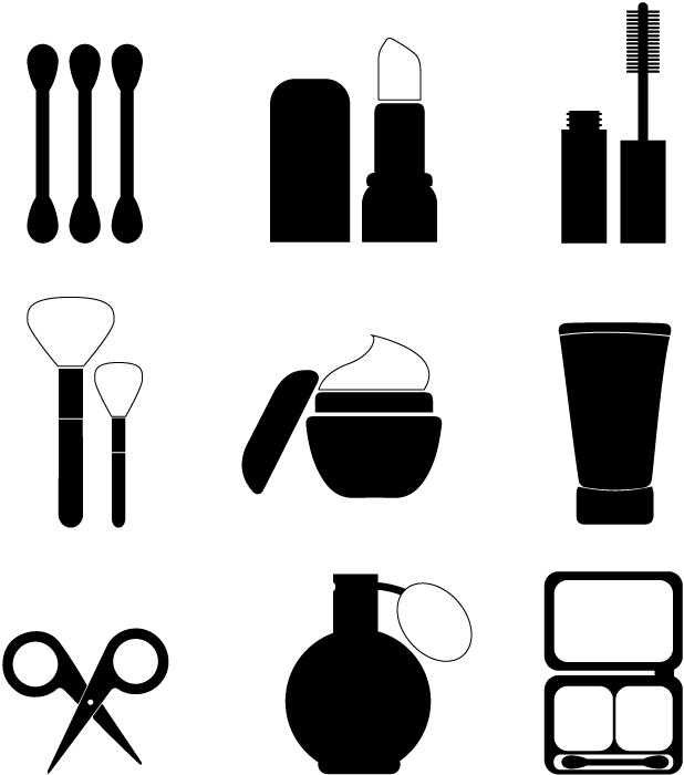 フリーイラスト 9種類の化粧品のセット