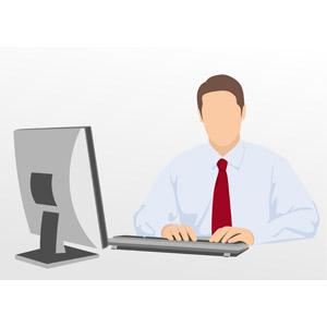 フリーイラスト, ベクター画像, EPS, 人物, 男性, 仕事, 職業, ビジネス, ビジネスマン, デスクワーク, パソコン(PC)